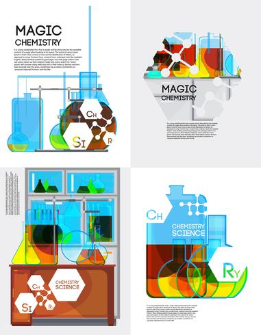 Magic Chemistry Posters Set vector