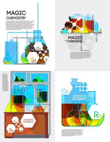 Conjunto de carteles de química mágica