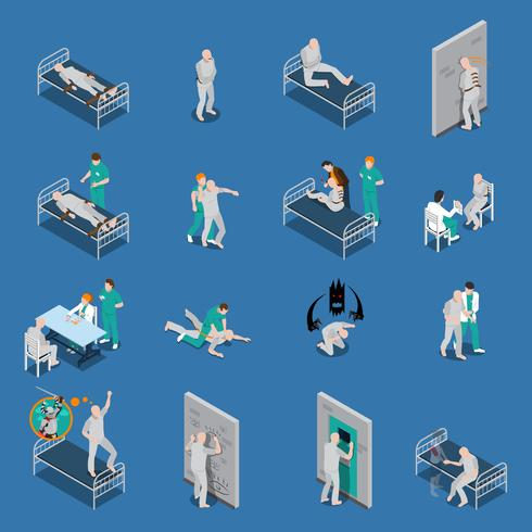Mental Patients Isometric Set vector