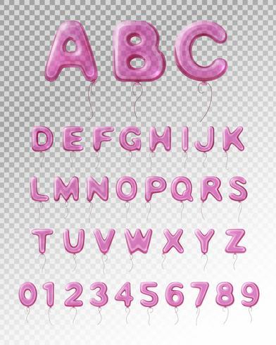Ballong Alfabet Realistisk Transparent Sammansättning vektor