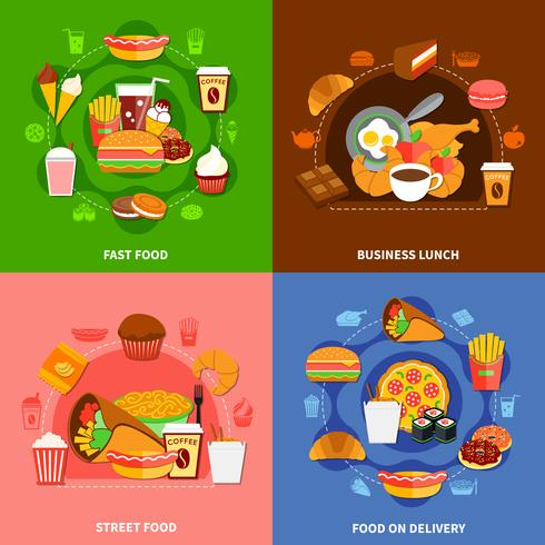 Fast Food 4 Flat Icons Square vettore