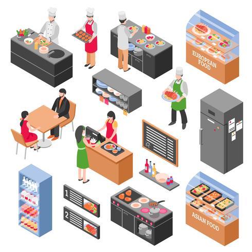 Food Court Elements Set vector
