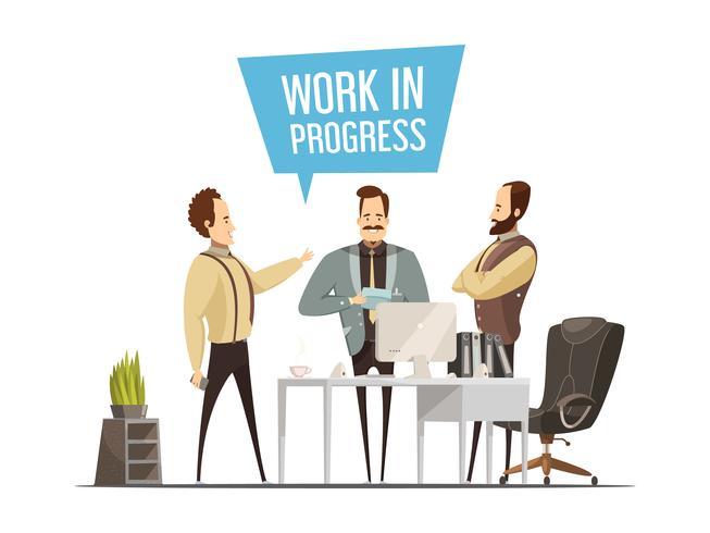 Diseño de estilo de dibujos animados de reunión de trabajo vector