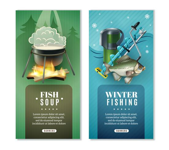 Winter vissen 2 verticale Banners Set vector