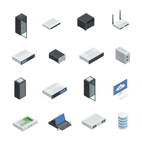 Datacenters ikonuppsättning vektor