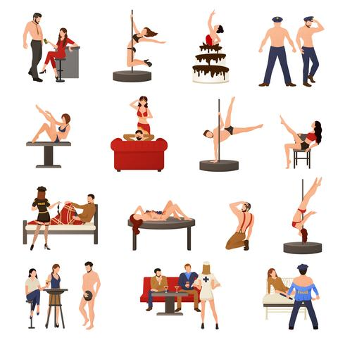 Conjunto de ícones de dançarina exótica