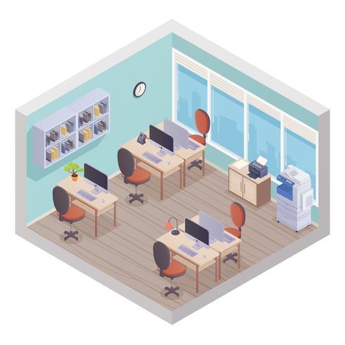 Intérieur de bureau isométrique