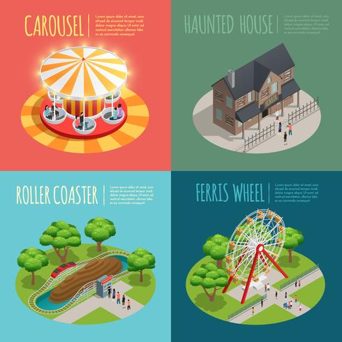 Parc d'attractions Concept Icons Set