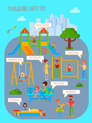 Póster de consejos de seguridad para parques infantiles vector