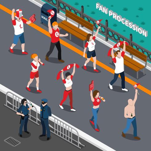 Composition isométrique de la procession des fans de sport