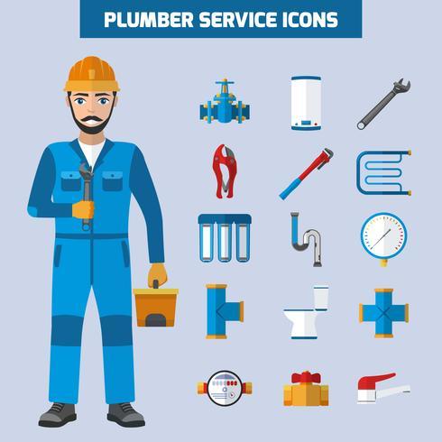 Conjunto de ícones de serviço de encanador vetor