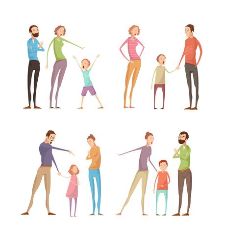 Föräldrars missbrukande barnkompositioner vektor