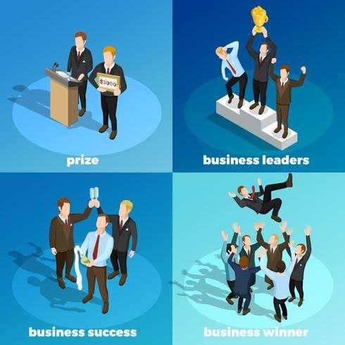 Líderes de negócios ganhando 4 isométrica ícones vetor