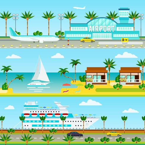 Summer Cruise Vacation Banners vector