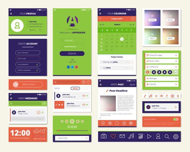Conjunto de elementos de pantalla de aplicaciones móviles