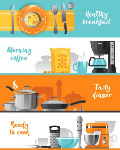 Kitchen Utensil Horizontal Banners Collection vector