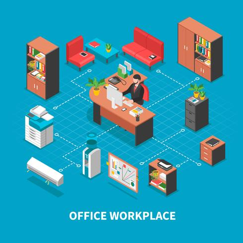 Office Workplace Background Concept vector