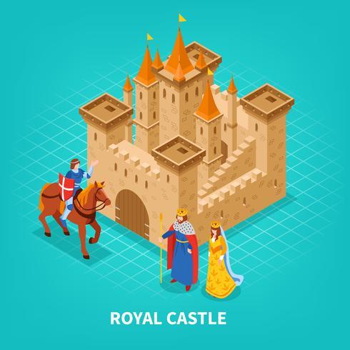 Composição isométrica do Castelo Real vetor