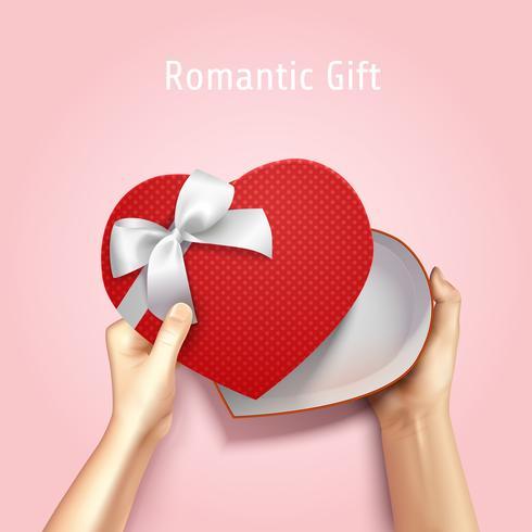 Sfondo romantico scatola regalo vettore
