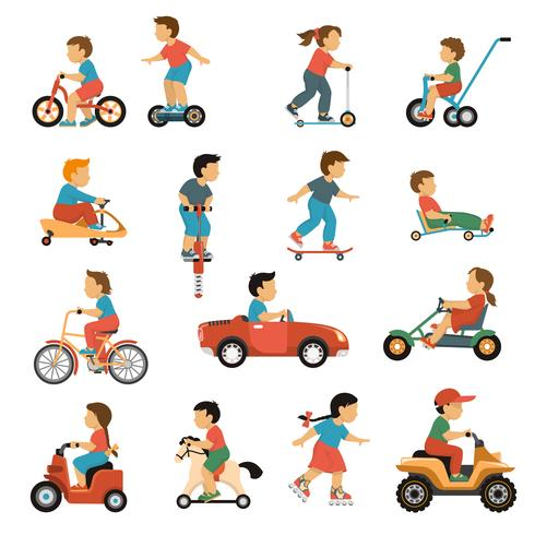 Kids Transport Icons Set vector