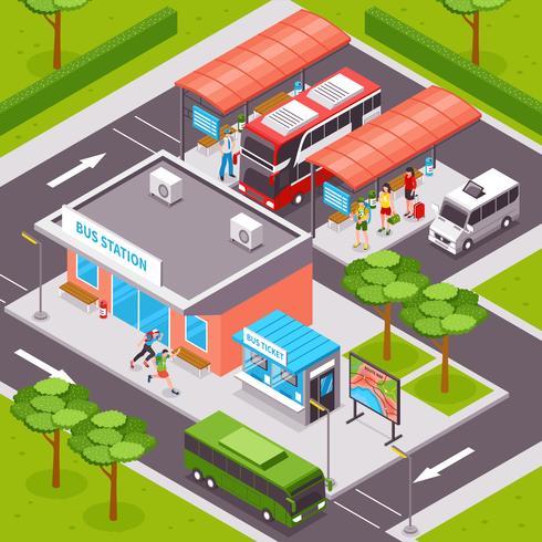 Ilustración isométrica de la estación de autobuses vector