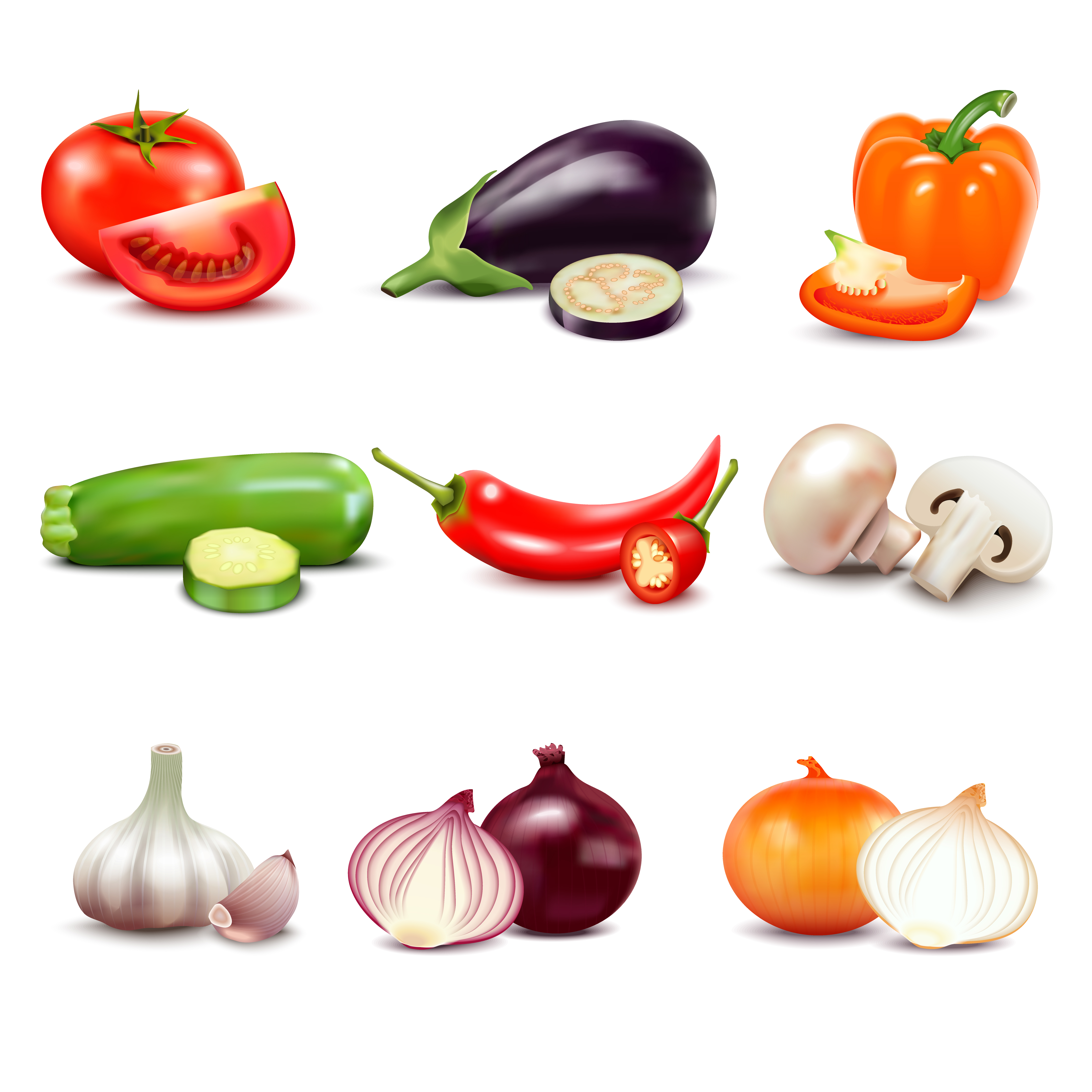 Raw Vegetables Isolated Icons - Download Free Vectors ...