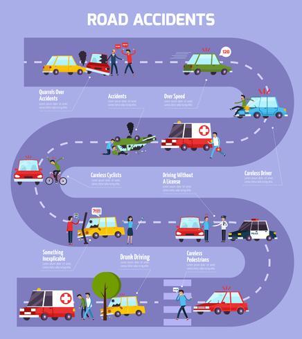 Verkeersongeval Infographic Stroomdiagram vector
