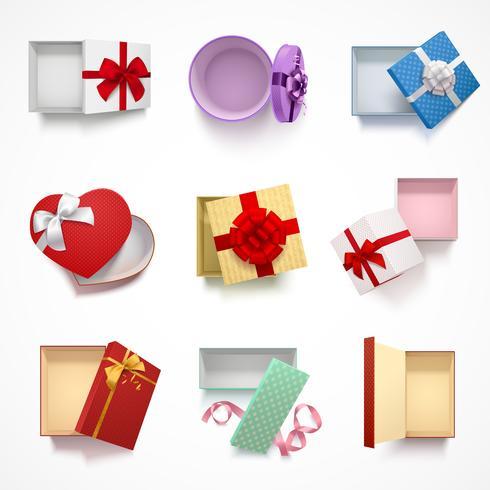 Set di scatole regalo versatile vettore