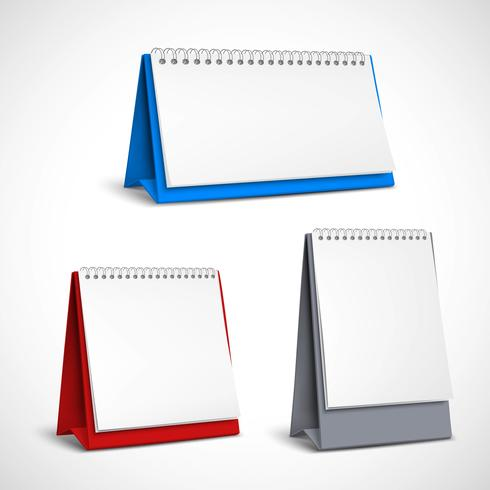 Conjunto de calendários em espiral de mesa em branco