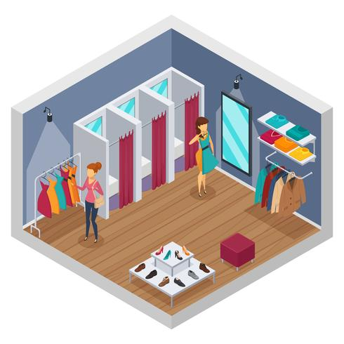 Trying Shop Isometric Interior vector