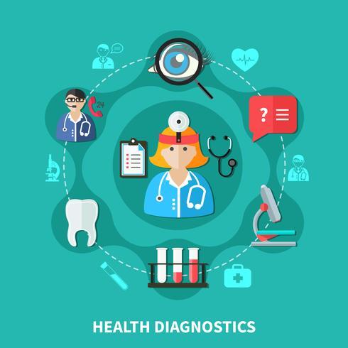 gezondheidsdiagnostiek vlak rond ontwerp