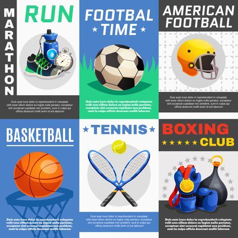 conjunto de cartazes de esporte moderno vetor