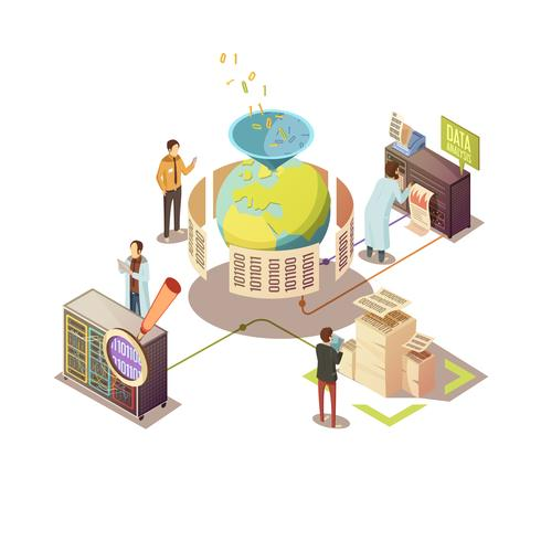 Information Processing Isometric Design vector