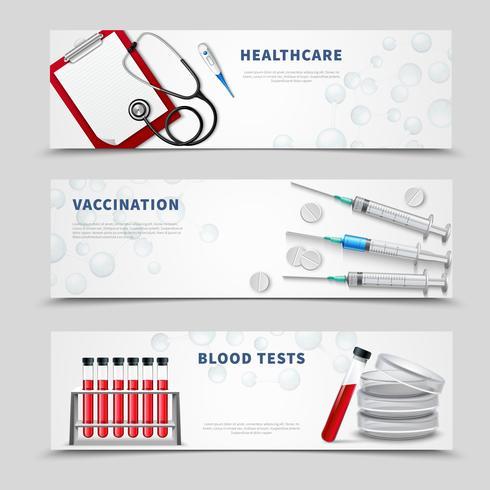 Conjunto de Banners médicos de vacunación vector