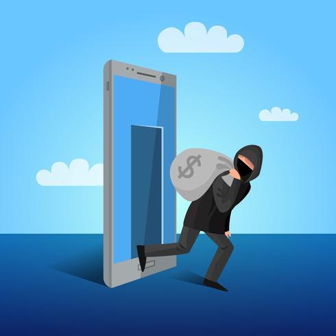 Affiche plate allégorique de fenêtre de piratage de smartphone vecteur