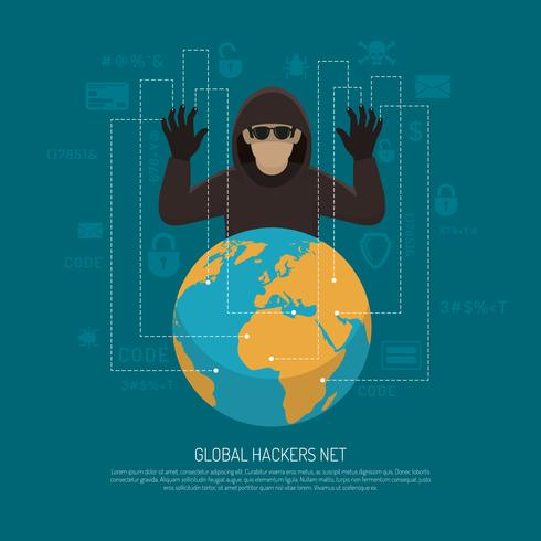 Global Hackers Net Symbolic Background Poster