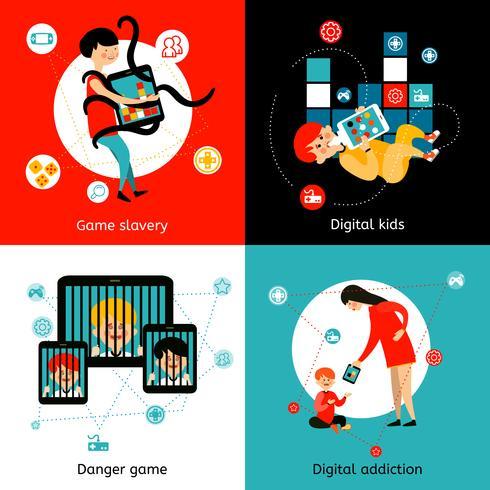 Niños Internet adicción 4 iconos planos