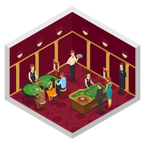 Colored Casino Isometric Interior vector