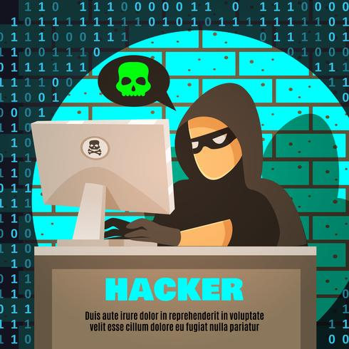 Ilustración de computadora cerca de hacker