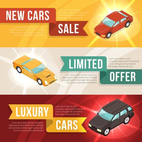 Concesionario de coches de arrendamiento conjunto de banner horizontal