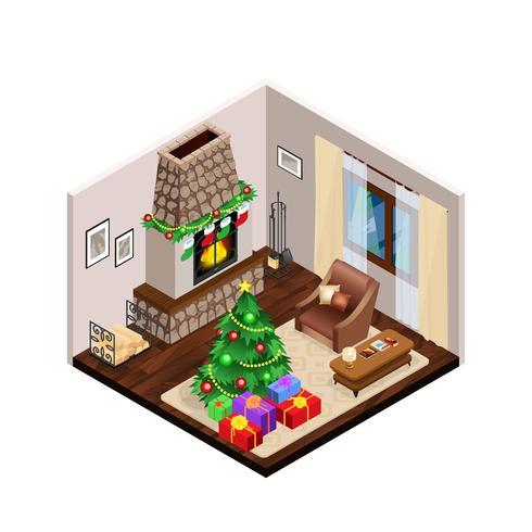 Salón isométrico interior de Navidad con chimenea vector