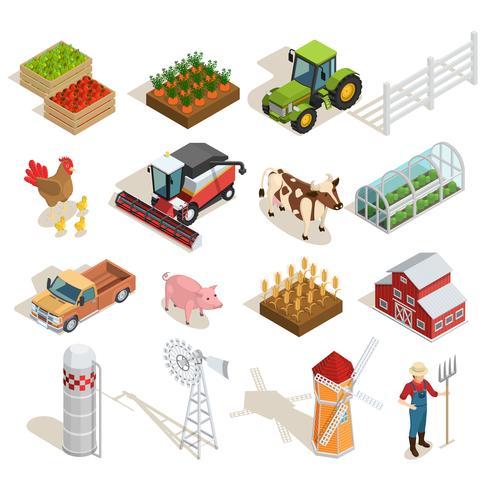 Collection d'icônes isométriques de ferme vecteur