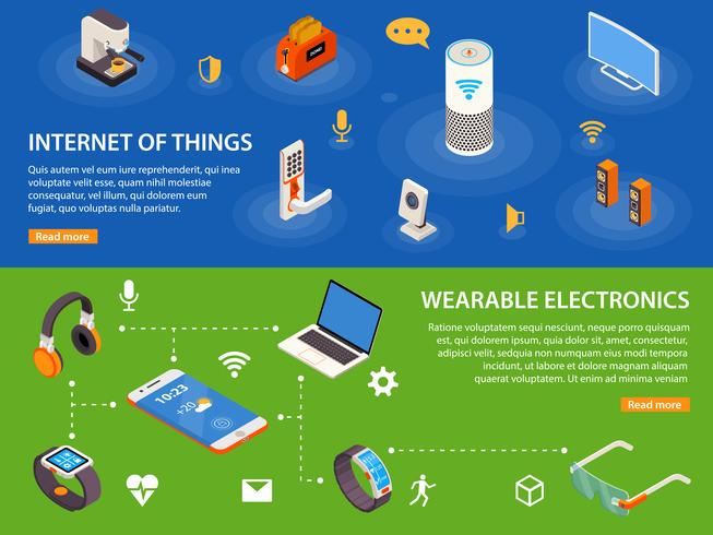Internet Of Things 2 Isometric Banners  vector