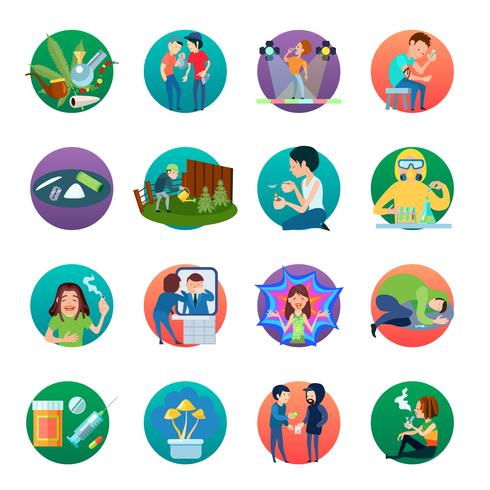 Set d'icônes stupéfiants vecteur