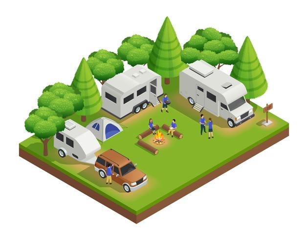 Recreational Vehicles Isometric Composition vector