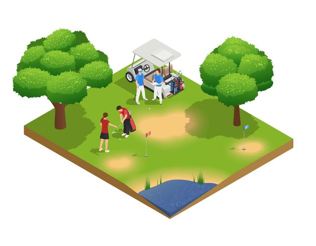 Composición de vista superior isométrica de campo de golf verde