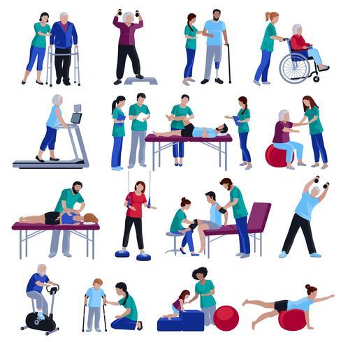 Raccolta piana delle icone della gente di riabilitazione di fisioterapia
