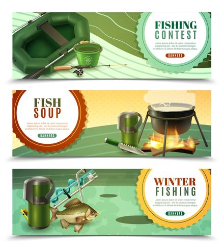 Conjunto de Banners Horizontais de Pesca Esportiva vetor