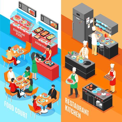 Conjunto de Banners de Cozinha Fastfood vetor