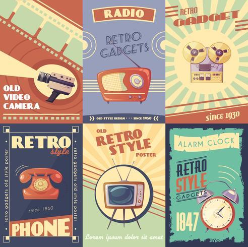 Affiches de dessin animé de gadgets rétro